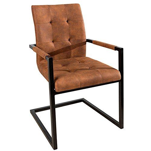 Invicta Interior Design Freischwinger Stuhl Oxford mit Armlehne Cognac Vintage braun Gestell Eisen Schwarz Esszimmerstuhl Armlehnenstuhl Esszimmer
