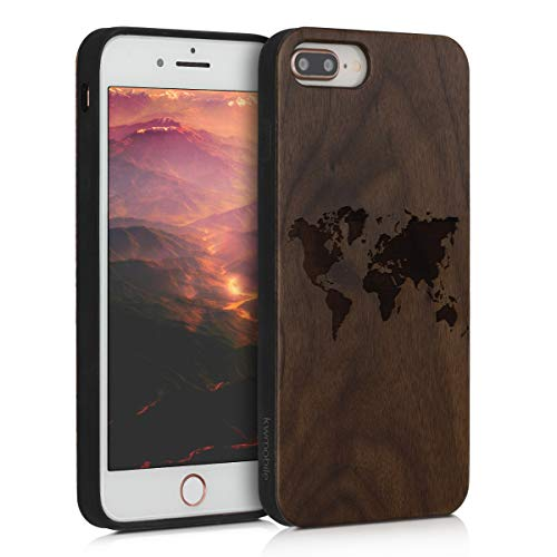kwmobile Funda Compatible con Apple iPhone 7 Plus / 8 Plus - Funda de Madera de Nogal Mapa del Mundo marrón Oscuro