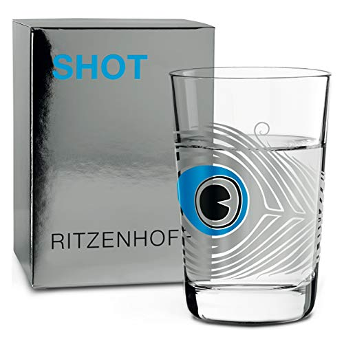 RITZENHOFF Sonia Pedrazzini Next Shot - Vaso de chupito (cristal, 40 ml), diseño de pavo real