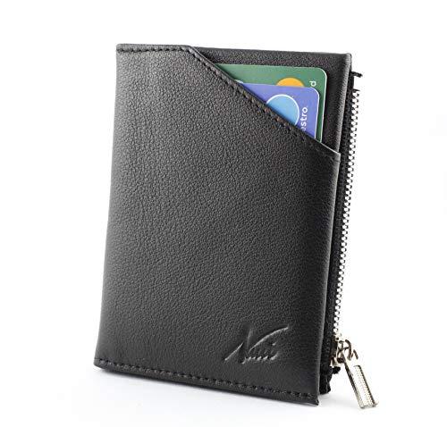 Porta Carte Credito-Portafoglio Uomo-Porta Badge-In Vera Pelle con Protezione RFID-Portafogli Piccolo Sottile per Documenti, Monete, Biglietti Visita-Regalo Uomo e Donna NUCCI DESIGN (Nero)