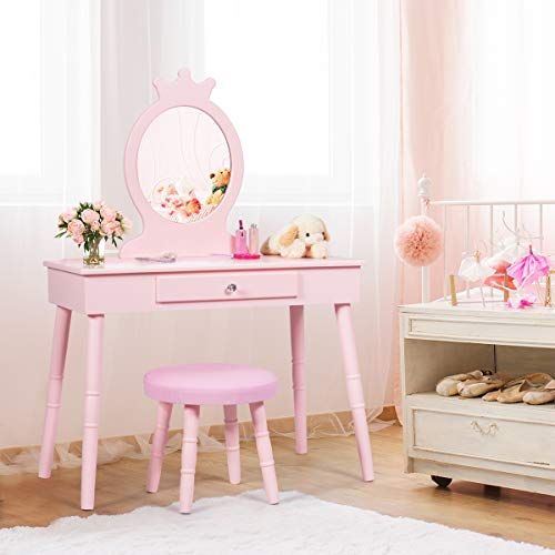 Costzon Kids Vanity Set, Wooden Princess Makeup Table with Cushioned Stool, Large Drawer, Solid Wooden Legs and Crown Mirror, Pretend Beauty Make Up Dressing Play Set for Girls Best Gift (Pink)