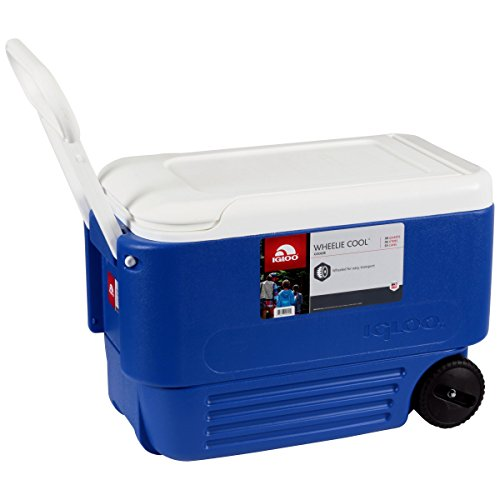 Ice - Cooler 38 Quart Rolling Ice Chest With Wheels. This Ice Box Is The Best Way To Keep Food, Beer & Drinks Cool For Outdoor Party, Camping, Travel, Picnic, Fishing, Bbq, Beach, Sports & Pool.