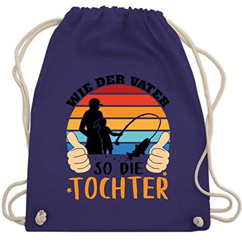 Shirtracer Vatertagsgeschenk - Wie der Vater so die Tochter - schwarz - Unisize - Lila - Spruch - WM110 - Turnbeutel und Stoffbeutel aus Baumwolle