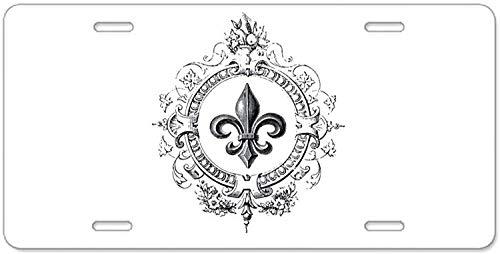 Fhdang Decor Vintage Frans Fleur De Lis Aluminium License Plate, Aluminium License Plate, Front License Plate, Vanity Tag 4 Gaten Auto Tag Auto Accessoires 6