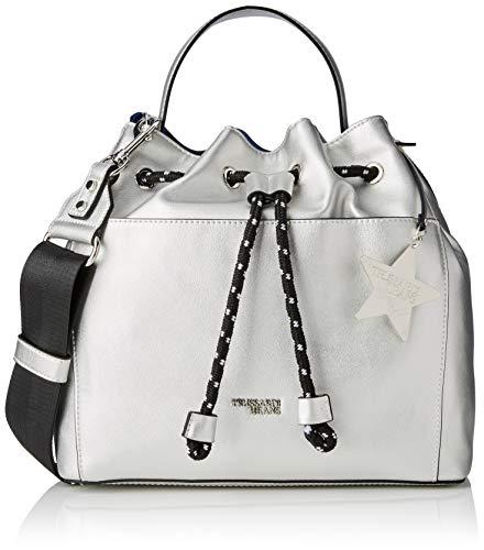 Trussardi Jeans T-Easy Bucket Charm Star Logo, Borsa a Secchiello Donna, Argento, 31x30x15 cm (W x H x L)