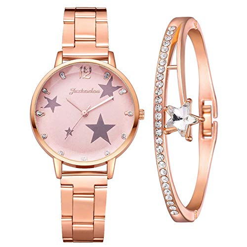 Fashion Ladies Diamond Steel Band Bracelet Watch Set Elegant Geometric Bracelet Jewelry Gift (Rose Gold)