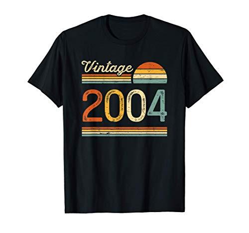 Regalo Original Chico Chica 17 Años Cumpleaños Vintage 2004 Camiseta