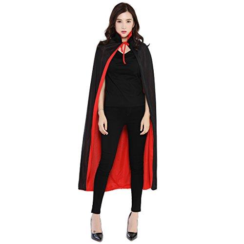 Huntfgold Schwarzer Roter Umhang Doppelseitig Cape Vampir Kostüm für Halloween Karneval Fasching Erwachsener Unisex