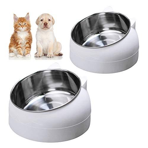 Gobesty Ciotola per gatti, 2 pezzi, in acciaio inox, antiscivolo, per gatti e cuccioli (200 ml + 400 ml)