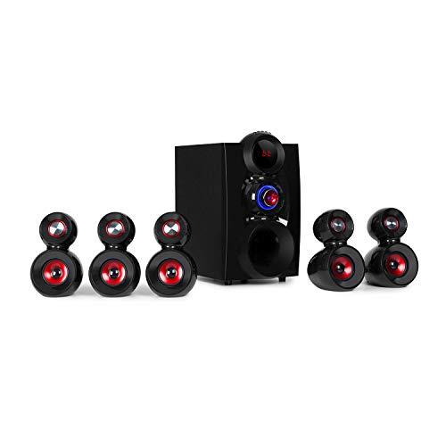 auna X-Gaming 5.1 Equipo de Sonido Envolvente - Altavoces de Gaming , Sistema de Altavoces , 380 W de Potencia , Subwoofer OneSide , Altavoces satélite , Bluetooth , USB , SD ,Entrada estéreo , Negro