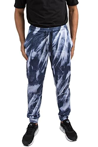 VIBES Men's Fleece Tiedye Print Jogger Pant Elastic Waist & Bottom Size M