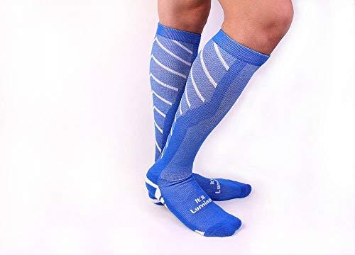 It\'s Luminos Kompressionsstrümpfe für Damen/Herren - Wandern, Joggen, Rudern, Fußball, Skifahren, Radfahren, Crossfit (Blau/Weiß)