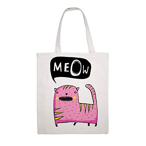Cloth Shoulder Grocery Shopping Bags Colored Cat Speech Bubble Hand Lettering Meow Canvas Tote Bag, Reusable Shopping Bag