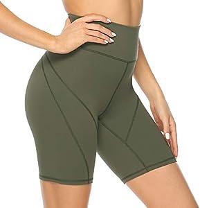 Persit - Mallas deportivas cortas para mujer, pantalones de yoga, de deporte, opacos, cintura alta, Todo el año, Mujer, color verde oliva, tamaño 48-50