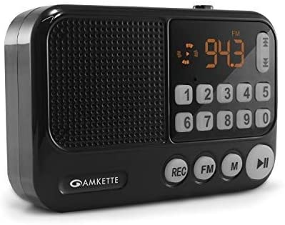 Amkette Pocket FM Portable Multimedia Bluetooth Speaker with Voice Recorder, USB, SD Card and Clock (Black)