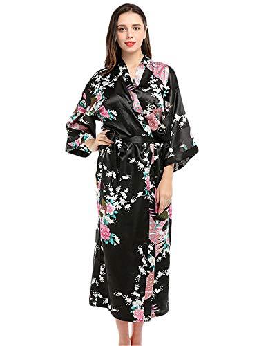 JIER Albornoz Mujer Largo Pava de Satén Camisón Sexy Kimono Vestido Bata de Noche Ropa de Dormir (Negro,M)