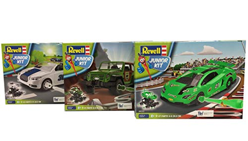 Revell Junior Kit S2189 3er Set mit DREI Autos, EIN rassiger Rennwagen, EIN Cooles Cabrio und EIN starker Geländewagen Bauen-Schrauben-Spielen für Kinder ab 4, Mehrfarbig