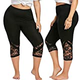 HOSDWomen Lace Patchwork Skinny Leggings Polyester High Elastic Waist Mid- Calf Women's Summer Plus Size Leggings by HOSD