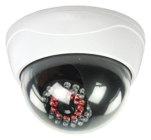 König DUMMYCA95X Dummy CCTV Domo con 25LED IR, Color blanco