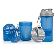 Advanced anti-leak technology makes the cap and lid safe for hot and cold drinks Two portion containers for supplements, one of them with a removable Revolutionary concave hexagon strainer eliminating powder lumps A carabiner, perfect for locker keys...