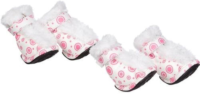 Pet Life F21PWLG Pink  White Fur Predective Boots Set of 4  LG