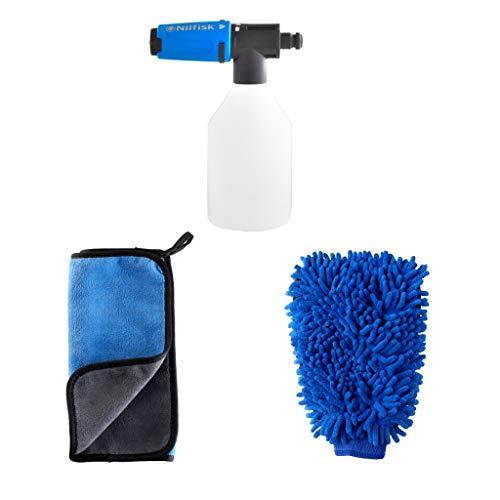 Nilfisk Kit de 3 Accesorios de Limpieza de Coche, con bayeta, Guante y pulverizador de Espuma para hidrolimpiadora