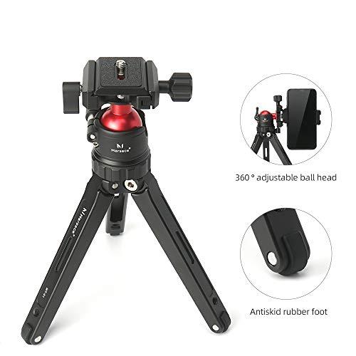 Marsace MT-01 Tischstativ, Mini-Desktop-Reisestativ aus Aluminiumlegierung mit 360-Grad-Kugelkopf und Schnellwechselplatte Leicht und tragbar für DSLR-Kompaktkameras, Telefon, Gopro
