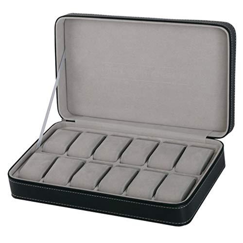 Organizador de maquillaje con varias rejillas para gafas, cuero, fibra de carbono, caja de reloj, caja de almacenamiento para pendientes, anillos y joyas (color: B)