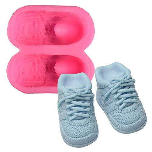 junengSO Colgante, 3D Cute Baby Shoes Moldes de Pastel de Silicona Pasta de Goma Chocolate Clay Candy Mold Fond