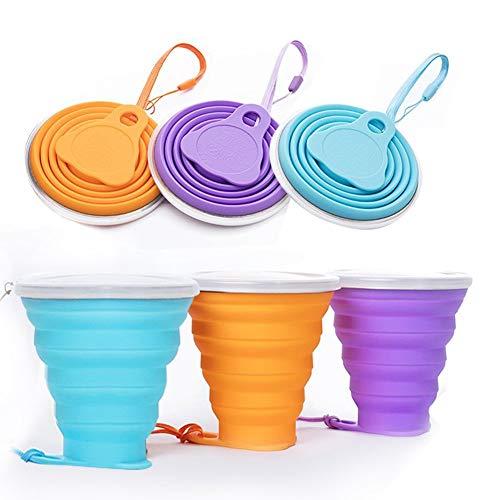 Vasos de silicona plegables con tapa, sin BPA, apto para uso alimentario, para camping, senderismo, al aire libre, silicona, Morado
