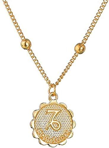 BACKZY MXJP Collar Collar Doce Horóscopo Collar Mujer Colgante De Oro Collar del Zodiaco Cadena Leo 12 Constelación Regalo De Joyería De Cumpleaños