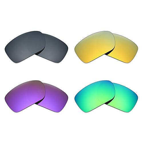 Mryok Lot de 4 paires de verres polarisés de rechange pour lunettes de soleil Oakley Turbine – Noir IR/or 24 carats/violet plasma/vert émeraude