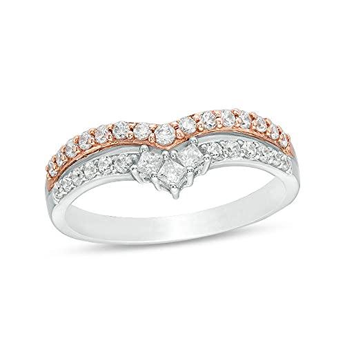 SILVERHUB 1 anillo de aniversario de corte princesa y corte redondo de diamante CZ transparente doble Chevron anillo de aniversario en chapado en oro de 14 quilates de dos tonos, Metal, circonita,
