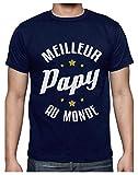 Meilleur Papy Au Monde Humour Cadeau Grand-Père T-Shirt Homme Large Marine
