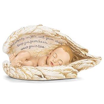 Joseph Studio Sleeping Baby Wrapped in Angel Wings Figurine