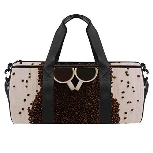 TIZORAX Coffee Bean Owl Gym Duffle Bag Drum Tote Fitness Travel Bag Rooftop Rack Bag