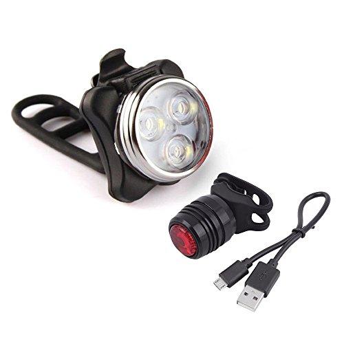 kashyk StVZO LED Fahrradbeleuchtung Set, USB Wiederaufladbere Fahrradlampen Fahrradlicht Fahrradlampenset inkl. Front und Rücklicht mit 3 Licht-Modi, Regen und Stoßfest