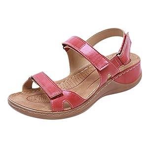 YWLINK Sandalias De Talla Grande para Mujer Zapatos De Playa con Punta Abierta De Verano Sandalias Deportivas Antideslizantes Fondo Plano Zapatillas Casual(Rojo,40EU)