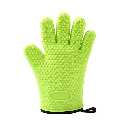 TOPQSC Silicone BBQ handschoenen, hittebestendig, oven, met anti-slip, antislip, antiaanbaklaag, 1 paar