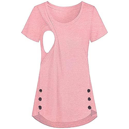 Camiseta de enfermería de Manga Corta para Mujer Camiseta de enfermería con Botones Laterales de Maternidad Camiseta Camiseta de enfermería Camiseta de enfermería Cuello Redondo Diseño en Capas