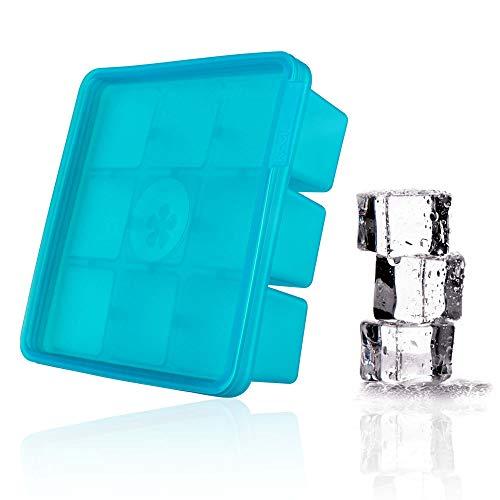 Kochblume Eiswürfelform | großer Silikon Eiswürfelbehälter mit Deckel, BPA-Frei und stapelbar (Türkis)