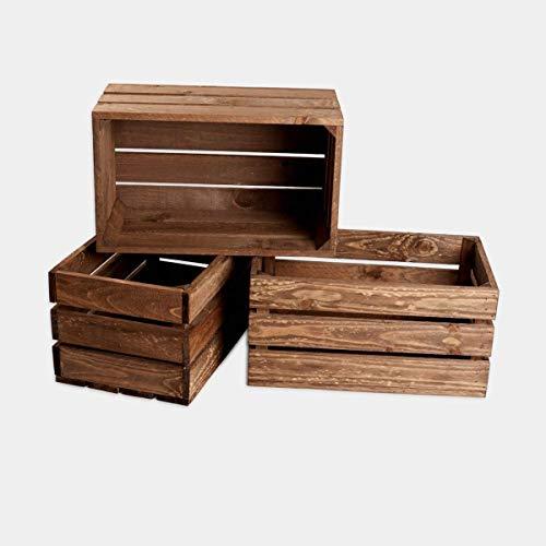 rebajas ofertas lote conjunto Pack 3 cajas madera tono envejecido 50x30x25 cm ideal para regalo decorativas opcion de elegir varios tonos cajón fruta almacenaje: Amazon.es: Handmade