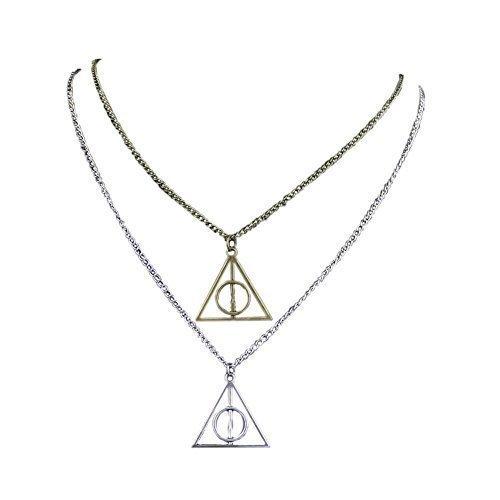 Chamber37 Plata y Bronce Triángulo Colgante Collar reliquias de la muerte y la Reliquias de la Muerte