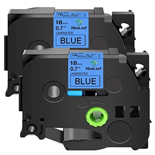 NineLeaf 2PK Black on Blue Laminated Label Tape Compatible for Brother P-Touch 18mm 3/4'' TZe541 TZe 541 TZ 541 TZ541 26.2ft PT-D400 PT-D600 PT-E300 PT-E500 PT-H300 Label Makers Printers
