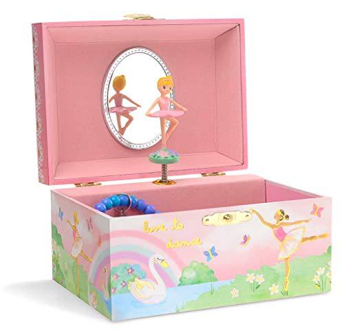 Jewelkeeper - Spieluhr Schmuckkästchen für Mädchen mit drehender Ballerina, Regenbogen- und Goldfolien-Design - Schwanensee Melodie