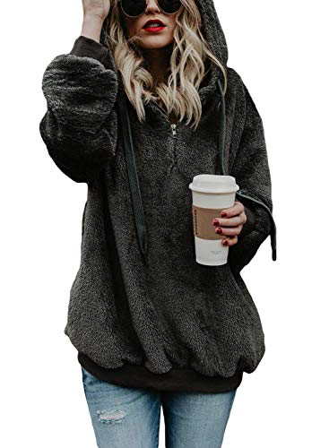 Yidarton Pullover Damen Hoodie Winter Lose Warm Kapuzenpullover Teddy-Fleece Langarm Oversize Sweatshirt mit Kapuze (Dunkelgrau, Small)