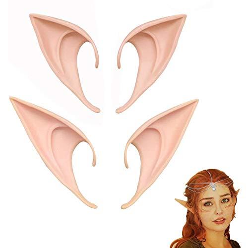 2 pares de orejas de hadas divertidas, orejas de hadas de látex, adecuadas para accesorios de...