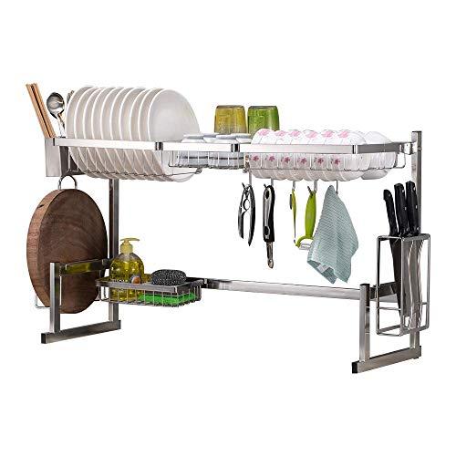 SOPRANNOMIN SUS304 Estante para Secar Platos de Acero Inoxidable Escurridor Sobre el Fregadero Organizador de platos Estante de Almacenamiento de Cocina Estante de cocina plateado (W85*H53*D28CM)