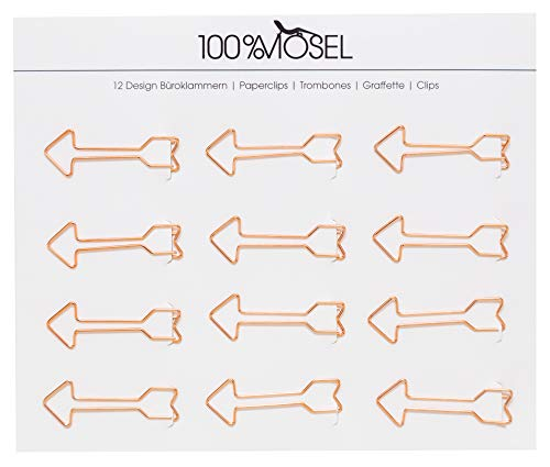 Büroklammern Roségold | 12 Stück | Metall Briefklammern | Motiv Papierklammern | Paper Clips | Als Deko, Lesezeichen oder Mitbringsel (Pfeil 5 x 1,7 cm)