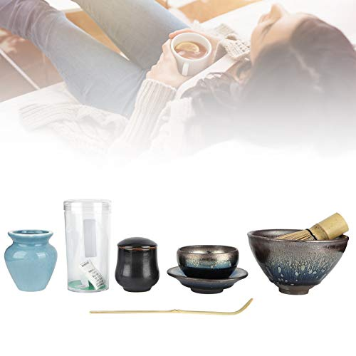 Ceremonia de té de estilo japonés Batidor de té Set de té Accesorios de té Regalo para casas de té caseras (gota de aceite, azul)